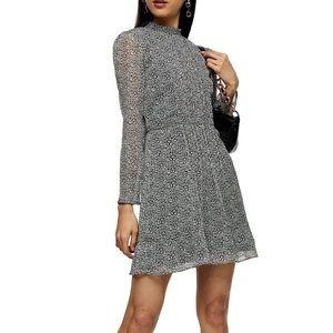Topshop Leopard Print Long Sleeve Minidress